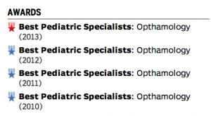 Dr Cyndi Beachamp Best eye doctor 2011, 2012, 2012, 2013